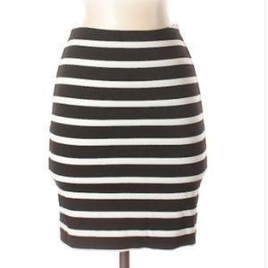 Torn by Ronny Kobo Black & White Stripe Mini Skirt